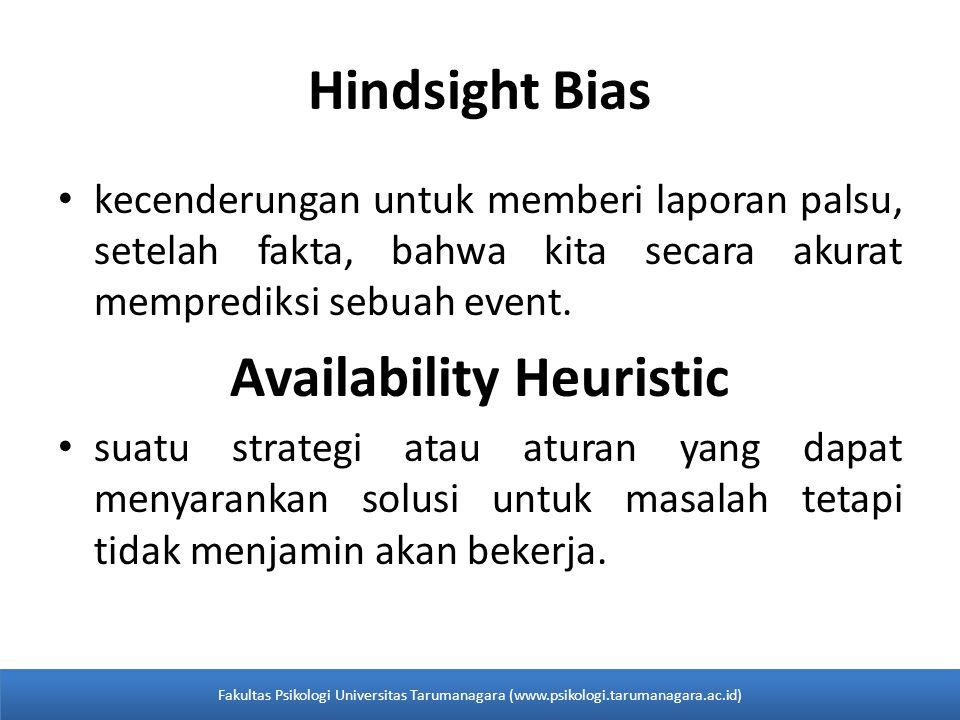 Hindsight Bias kecenderungan untuk memberi laporan palsu, setelah fakta, bahwa kita secara akurat memprediksi sebuah event. Availability Heuristic sua