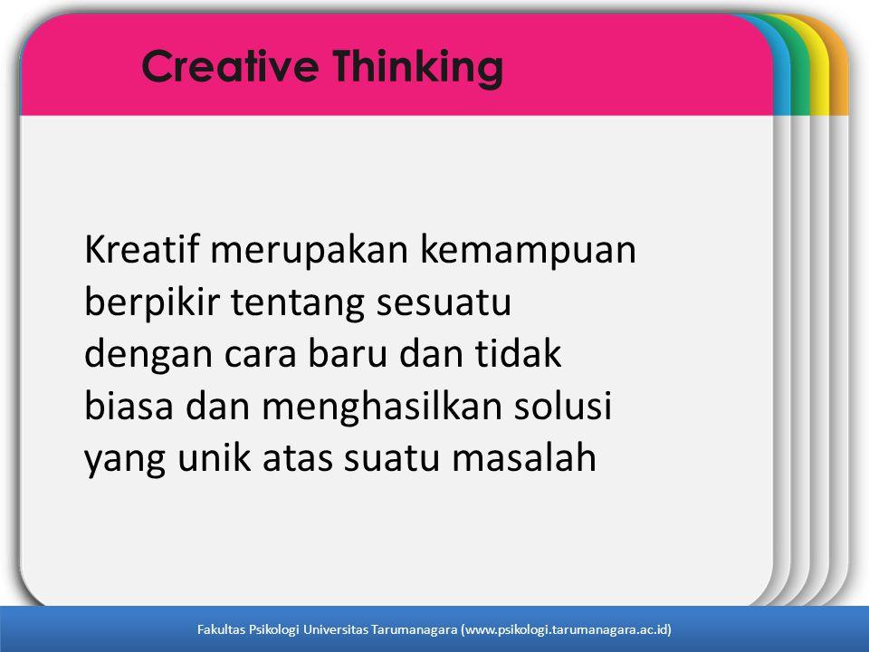 WINTER Template Creative Thinking Kreatif merupakan kemampuan berpikir tentang sesuatu dengan cara baru dan tidak biasa dan menghasilkan solusi yang u
