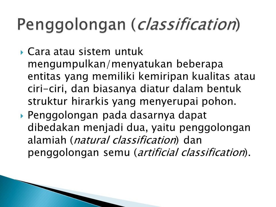 Classification may refer to:  Library classification  Taxonomic classification  Biological classification of organisms  Medical classification  Scientific classification  Classification (literature)  Supervised learning (see Classification (machine learning))  Statistical classification  Document classification  Classified information - sensitive information to which access is restricted by law or regulation to particular classes of people.