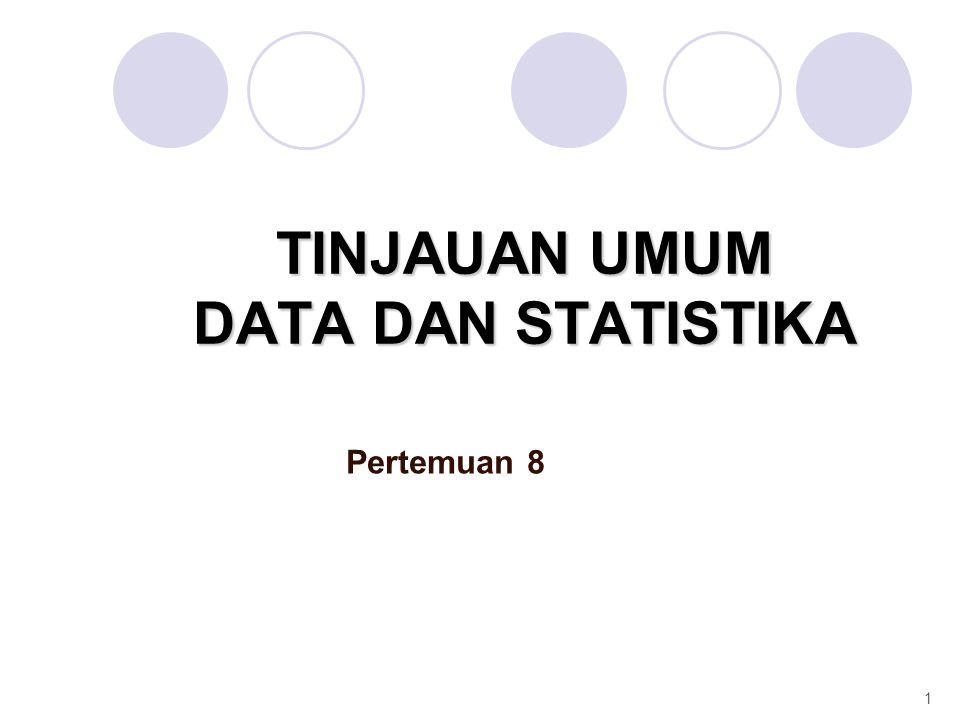 TINJAUAN UMUM DATA DAN STATISTIKA Pertemuan 8 1