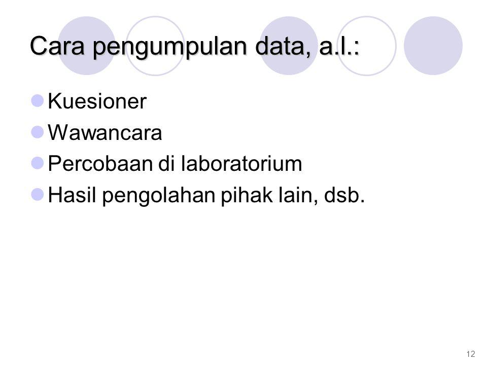 Cara pengumpulan data, a.l.: Kuesioner Wawancara Percobaan di laboratorium Hasil pengolahan pihak lain, dsb. 12