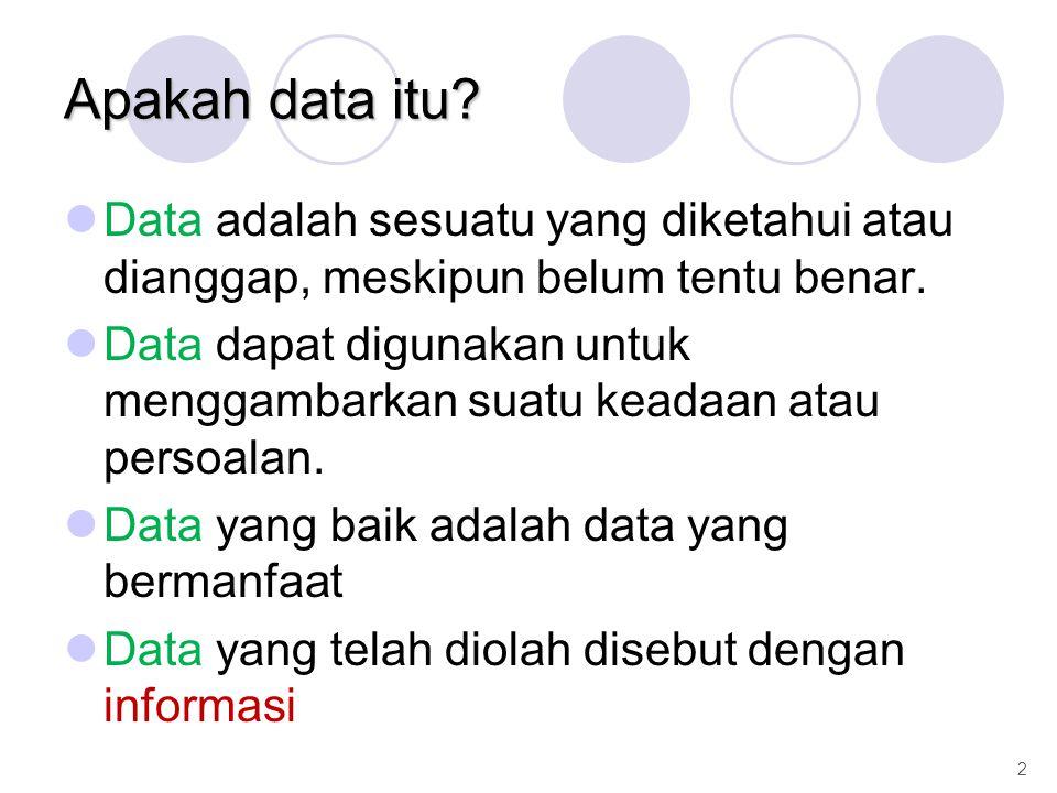 Apakah data itu? Data adalah sesuatu yang diketahui atau dianggap, meskipun belum tentu benar. Data dapat digunakan untuk menggambarkan suatu keadaan