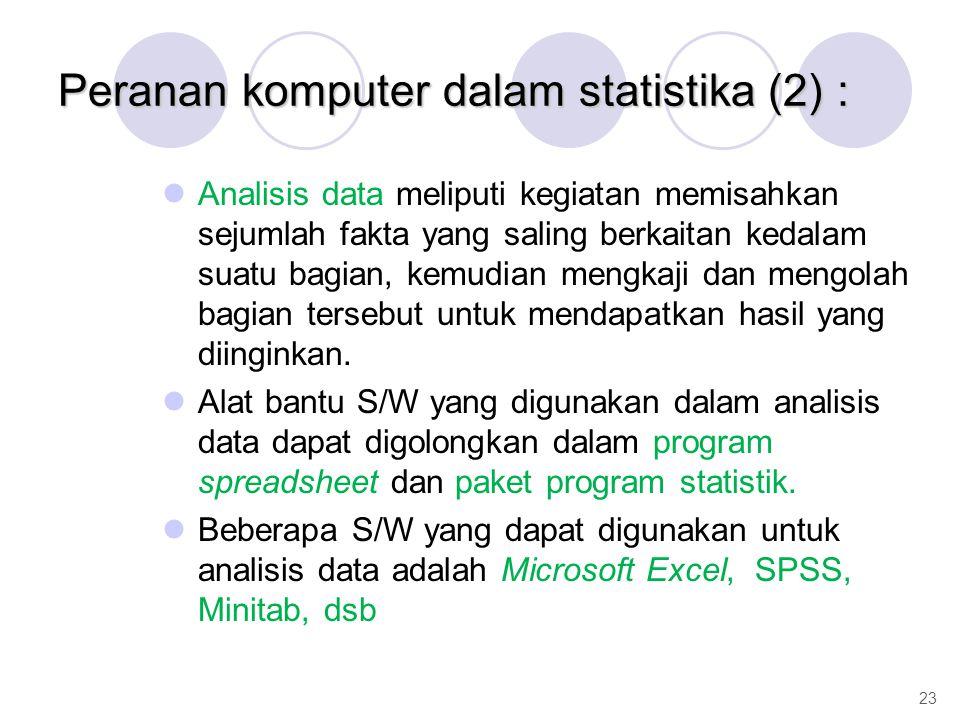 Peranan komputer dalam statistika (2) : Analisis data meliputi kegiatan memisahkan sejumlah fakta yang saling berkaitan kedalam suatu bagian, kemudian