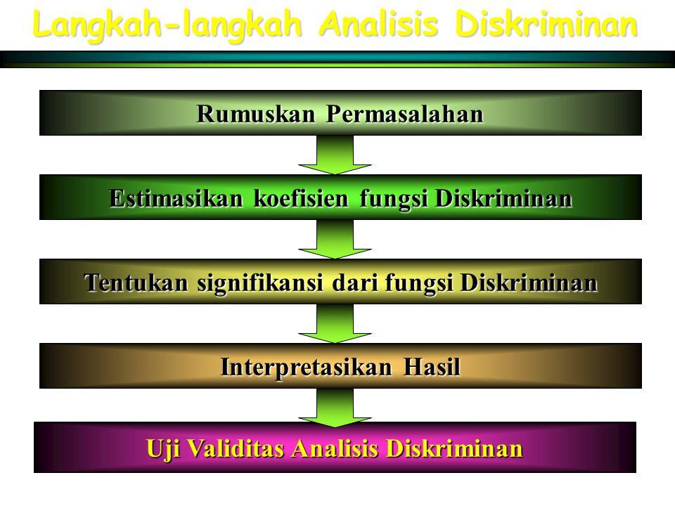 Langkah-langkah Analisis Diskriminan Rumuskan Permasalahan Estimasikan koefisien fungsi Diskriminan Tentukan signifikansi dari fungsi Diskriminan Inte