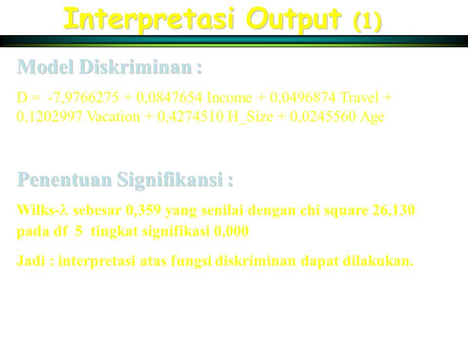 Interpretasi Output (1) Model Diskriminan : D = -7,9766275 + 0,0847654 Income + 0,0496874 Travel + 0,1202997 Vacation + 0,4274510 H_Size + 0,0245560 Age Penentuan Signifikansi : Wilks- sebesar 0, 359 yang senilai dengan chi square 26,130 pada df 5 tingkat signifikasi 0,000 Jadi : interpretasi atas fungsi diskriminan dapat dilakukan.
