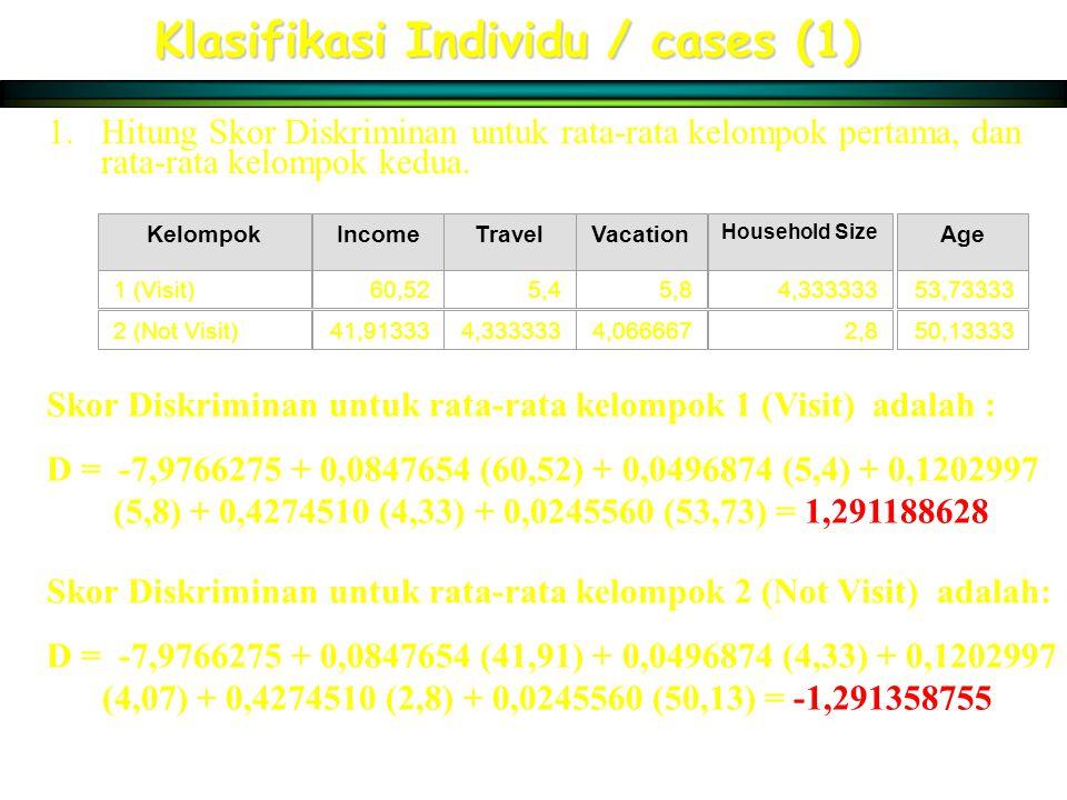 Klasifikasi Individu / cases (1) 1.Hitung Skor Diskriminan untuk rata-rata kelompok pertama, dan rata-rata kelompok kedua. KelompokIncomeTravelVacatio