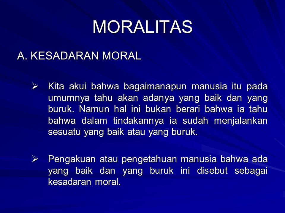 MORALITAS A. KESADARAN MORAL KKKKita akui bahwa bagaimanapun manusia itu pada umumnya tahu akan adanya yang baik dan yang buruk. Namun hal ini buk