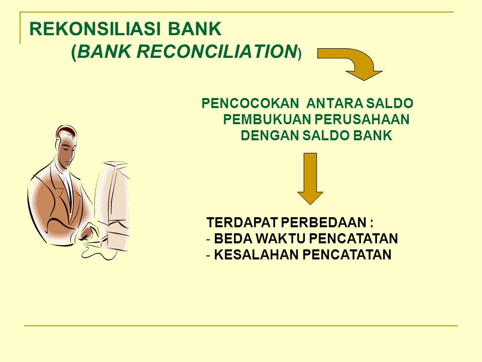 REKONSILIASI BANK (BANK RECONCILIATION ) PENCOCOKAN ANTARA SALDO PEMBUKUAN PERUSAHAAN DENGAN SALDO BANK TERDAPAT PERBEDAAN : - BEDA WAKTU PENCATATAN - KESALAHAN PENCATATAN