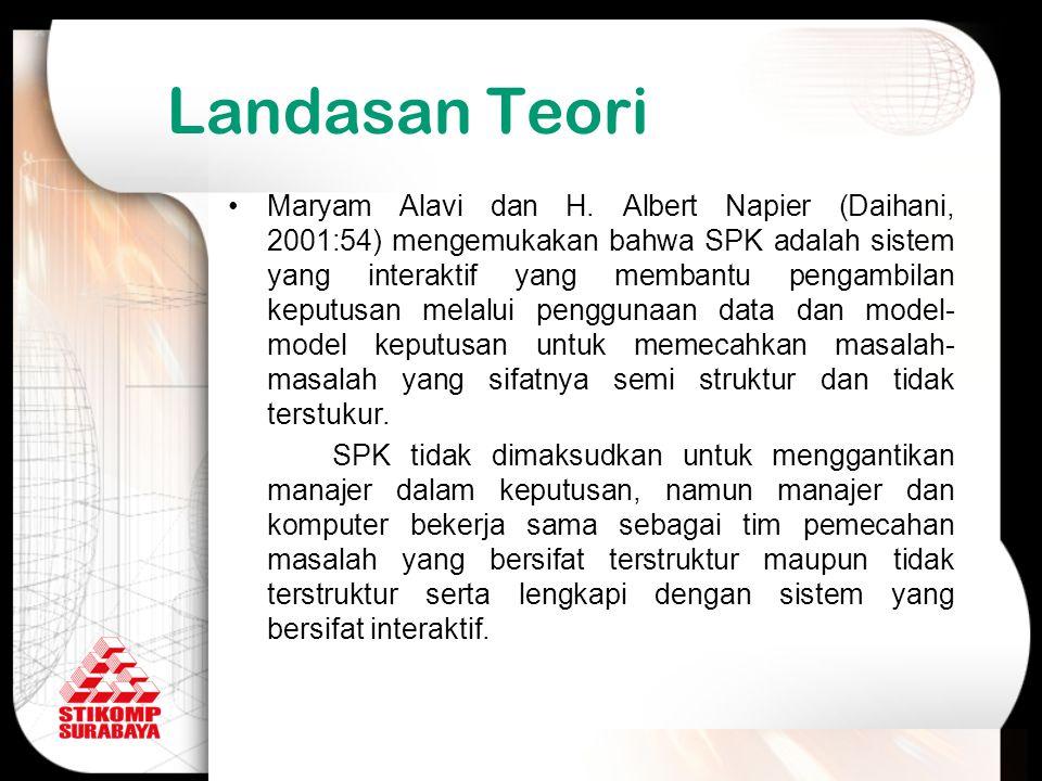 Landasan Teori Maryam Alavi dan H. Albert Napier (Daihani, 2001:54) mengemukakan bahwa SPK adalah sistem yang interaktif yang membantu pengambilan kep