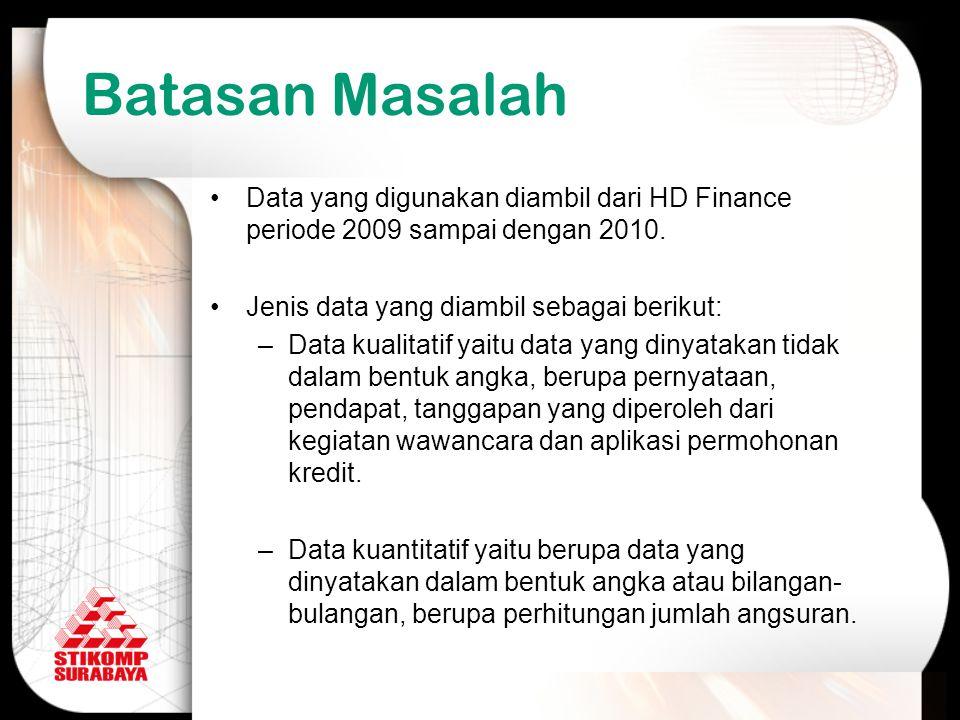 Data yang digunakan diambil dari HD Finance periode 2009 sampai dengan 2010. Jenis data yang diambil sebagai berikut: –Data kualitatif yaitu data yang