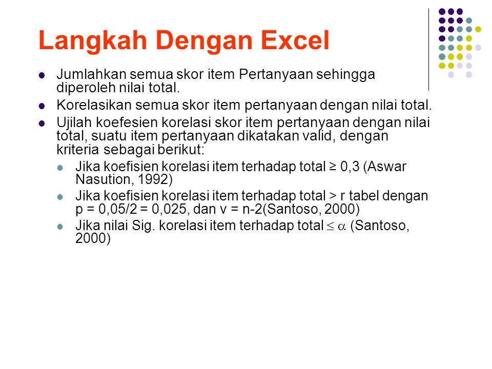 Langkah Dengan Excel Jumlahkan semua skor item Pertanyaan sehingga diperoleh nilai total. Korelasikan semua skor item pertanyaan dengan nilai total. U