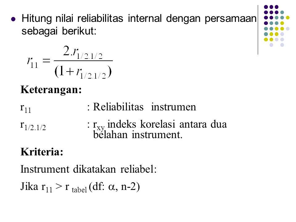 Hitung nilai reliabilitas internal dengan persamaan sebagai berikut: Keterangan: r 11 : Reliabilitas instrumen r 1/2.1/2 : r xy indeks korelasi antara
