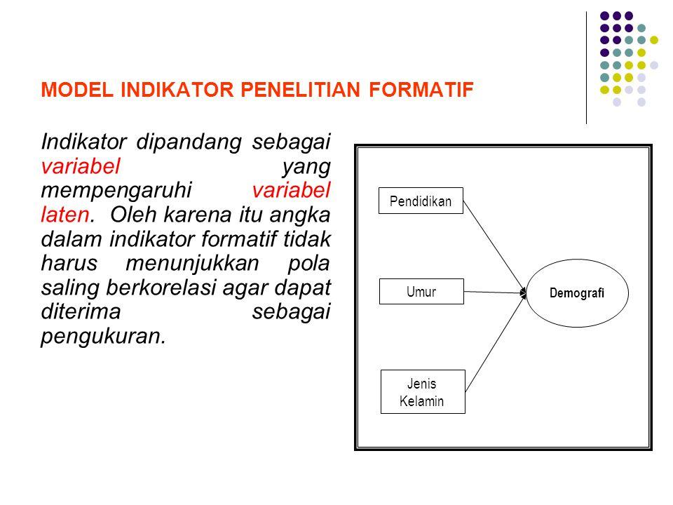 MODEL INDIKATOR PENELITIAN FORMATIF Indikator dipandang sebagai variabel yang mempengaruhi variabel laten. Oleh karena itu angka dalam indikator forma