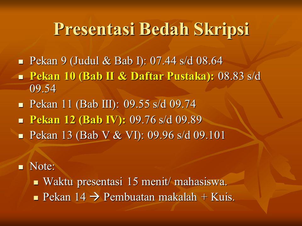 Presentasi Bedah Skripsi Pekan 9 (Judul & Bab I): 07.44 s/d 08.64 Pekan 9 (Judul & Bab I): 07.44 s/d 08.64 Pekan 10 (Bab II & Daftar Pustaka): 08.83 s/d 09.54 Pekan 10 (Bab II & Daftar Pustaka): 08.83 s/d 09.54 Pekan 11 (Bab III): 09.55 s/d 09.74 Pekan 11 (Bab III): 09.55 s/d 09.74 Pekan 12 (Bab IV): 09.76 s/d 09.89 Pekan 12 (Bab IV): 09.76 s/d 09.89 Pekan 13 (Bab V & VI): 09.96 s/d 09.101 Pekan 13 (Bab V & VI): 09.96 s/d 09.101 Note: Note: Waktu presentasi 15 menit/ mahasiswa.