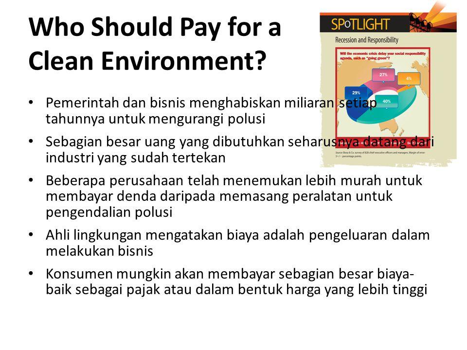 Who Should Pay for a Clean Environment? Pemerintah dan bisnis menghabiskan miliaran setiap tahunnya untuk mengurangi polusi Sebagian besar uang yang d