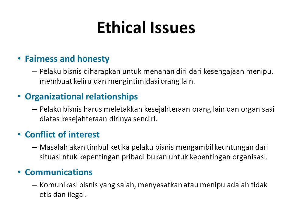 Ethical Issues Fairness and honesty – Pelaku bisnis diharapkan untuk menahan diri dari kesengajaan menipu, membuat keliru dan mengintimidasi orang lai