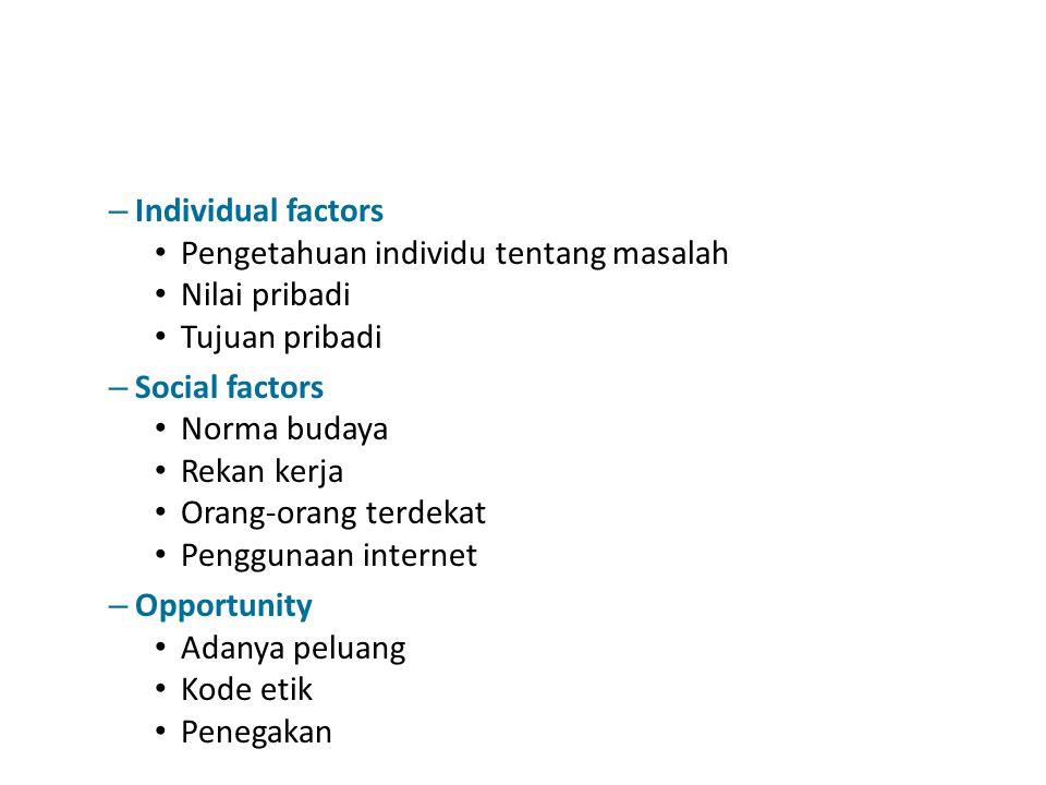 – Individual factors Pengetahuan individu tentang masalah Nilai pribadi Tujuan pribadi – Social factors Norma budaya Rekan kerja Orang-orang terdekat