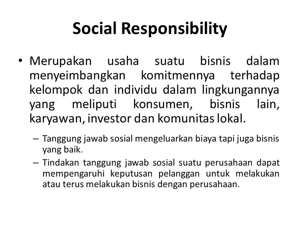 Social Responsibility Merupakan usaha suatu bisnis dalam menyeimbangkan komitmennya terhadap kelompok dan individu dalam lingkungannya yang meliputi k