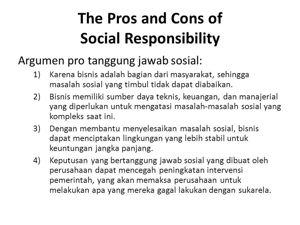 The Pros and Cons of Social Responsibility Argumen pro tanggung jawab sosial: 1)Karena bisnis adalah bagian dari masyarakat, sehingga masalah sosial y
