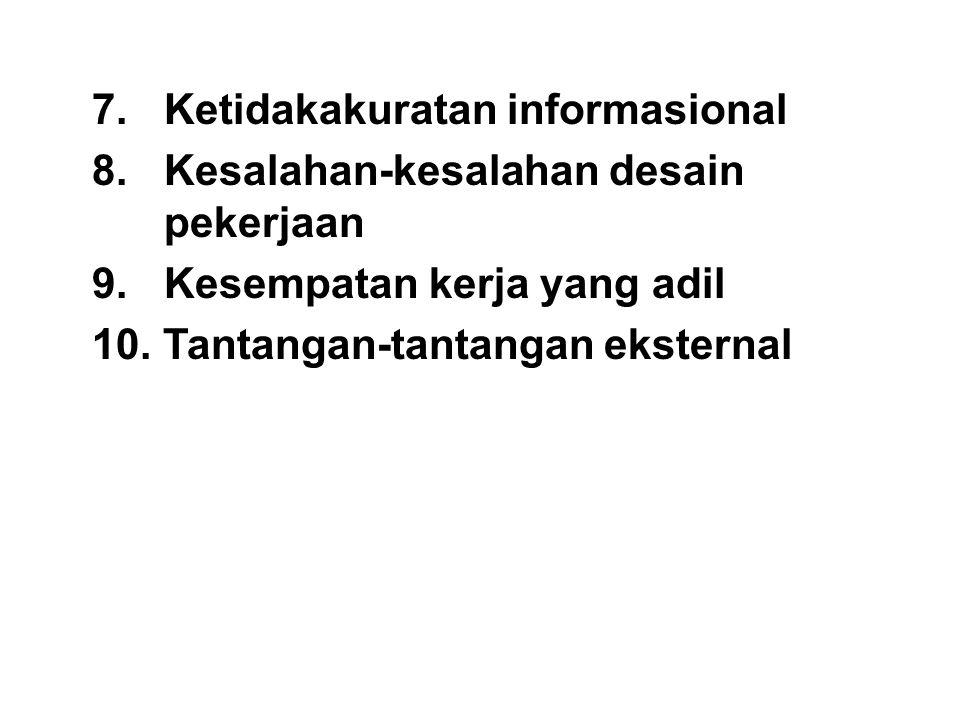 7. Ketidakakuratan informasional 8. Kesalahan-kesalahan desain pekerjaan 9. Kesempatan kerja yang adil 10. Tantangan-tantangan eksternal