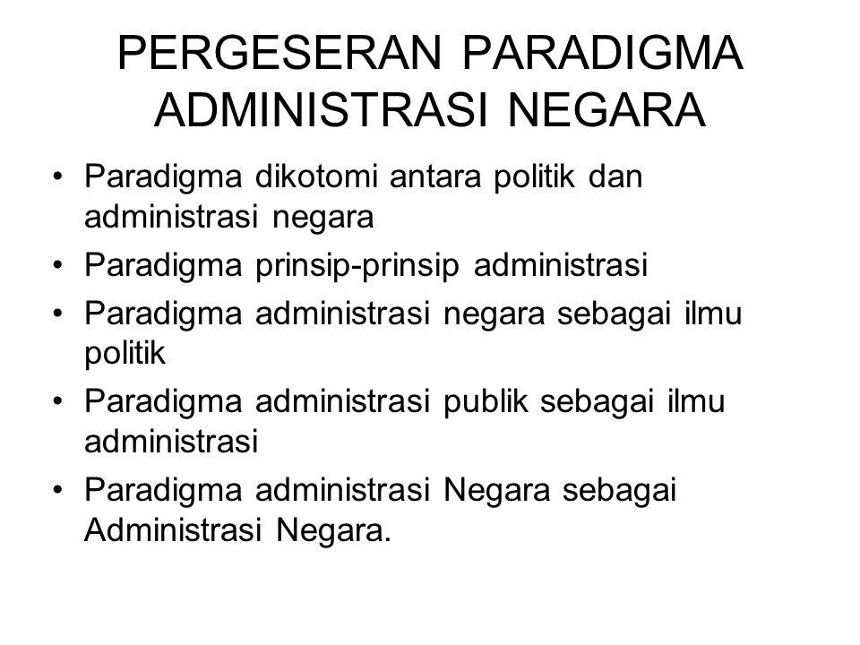 PERGESERAN PARADIGMA ADMINISTRASI NEGARA Paradigma dikotomi antara politik dan administrasi negara Paradigma prinsip-prinsip administrasi Paradigma ad