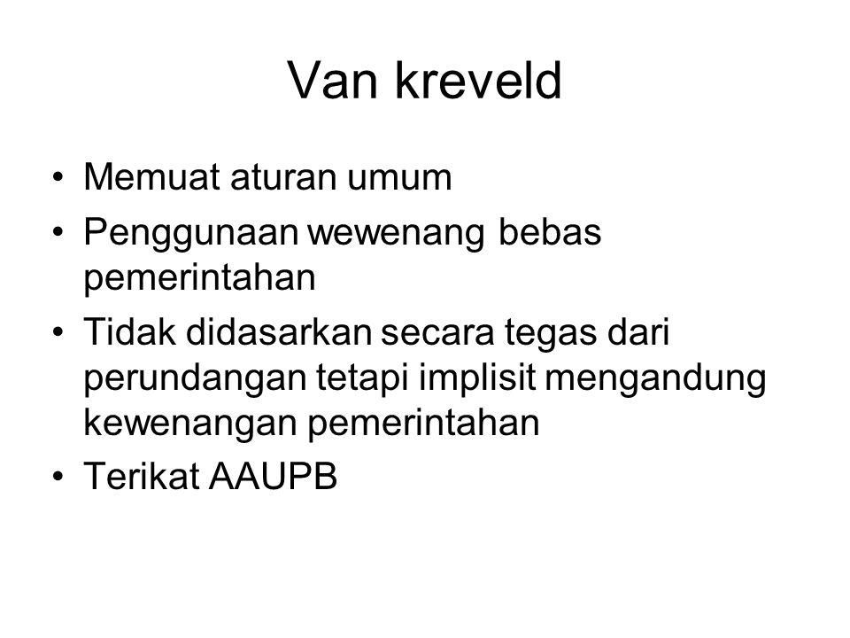 Van kreveld Memuat aturan umum Penggunaan wewenang bebas pemerintahan Tidak didasarkan secara tegas dari perundangan tetapi implisit mengandung kewena