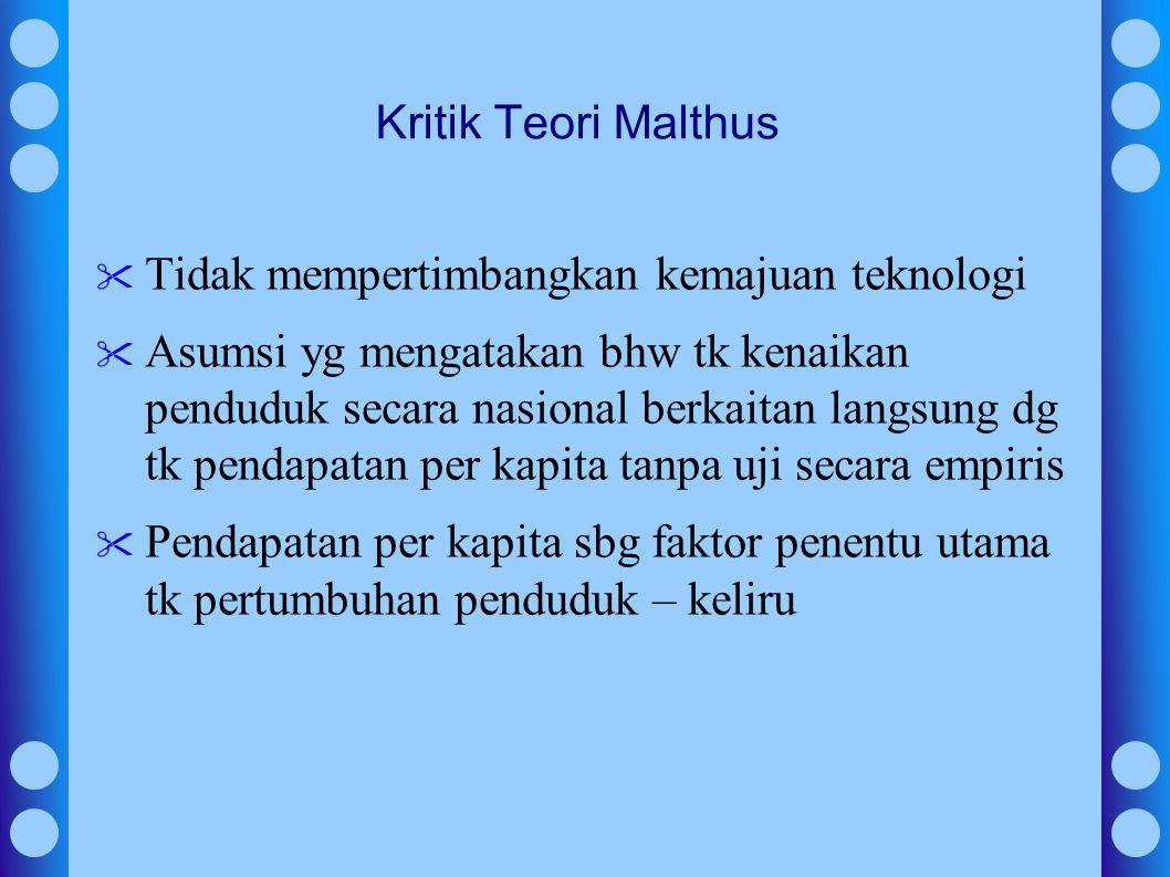 Kritik Teori Malthus Tidak mempertimbangkan kemajuan teknologi Asumsi yg mengatakan bhw tk kenaikan penduduk secara nasional berkaitan langsung dg tk pendapatan per kapita tanpa uji secara empiris Pendapatan per kapita sbg faktor penentu utama tk pertumbuhan penduduk – keliru