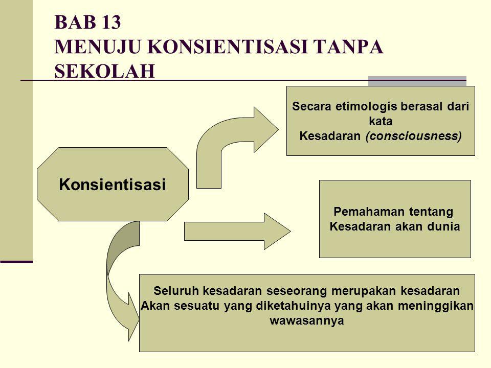 BAB 13 MENUJU KONSIENTISASI TANPA SEKOLAH Konsientisasi Secara etimologis berasal dari kata Kesadaran (consciousness) Pemahaman tentang Kesadaran akan