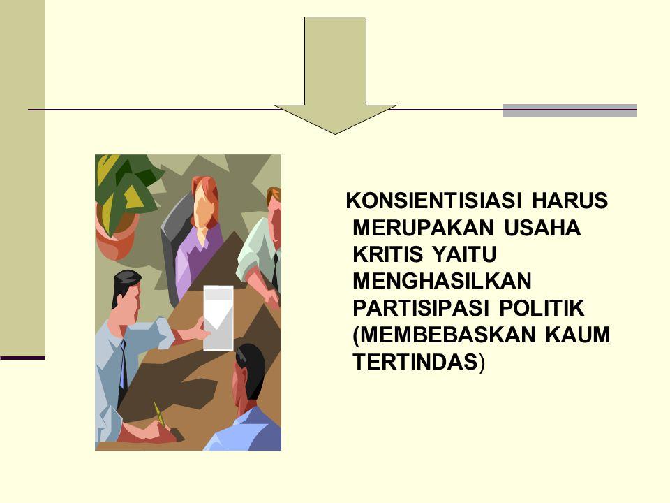 KONSIENTISIASI HARUS MERUPAKAN USAHA KRITIS YAITU MENGHASILKAN PARTISIPASI POLITIK (MEMBEBASKAN KAUM TERTINDAS)