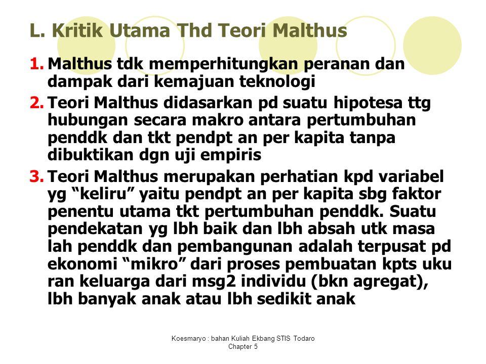 L. Kritik Utama Thd Teori Malthus 1.Malthus tdk memperhitungkan peranan dan dampak dari kemajuan teknologi 2.Teori Malthus didasarkan pd suatu hipotes