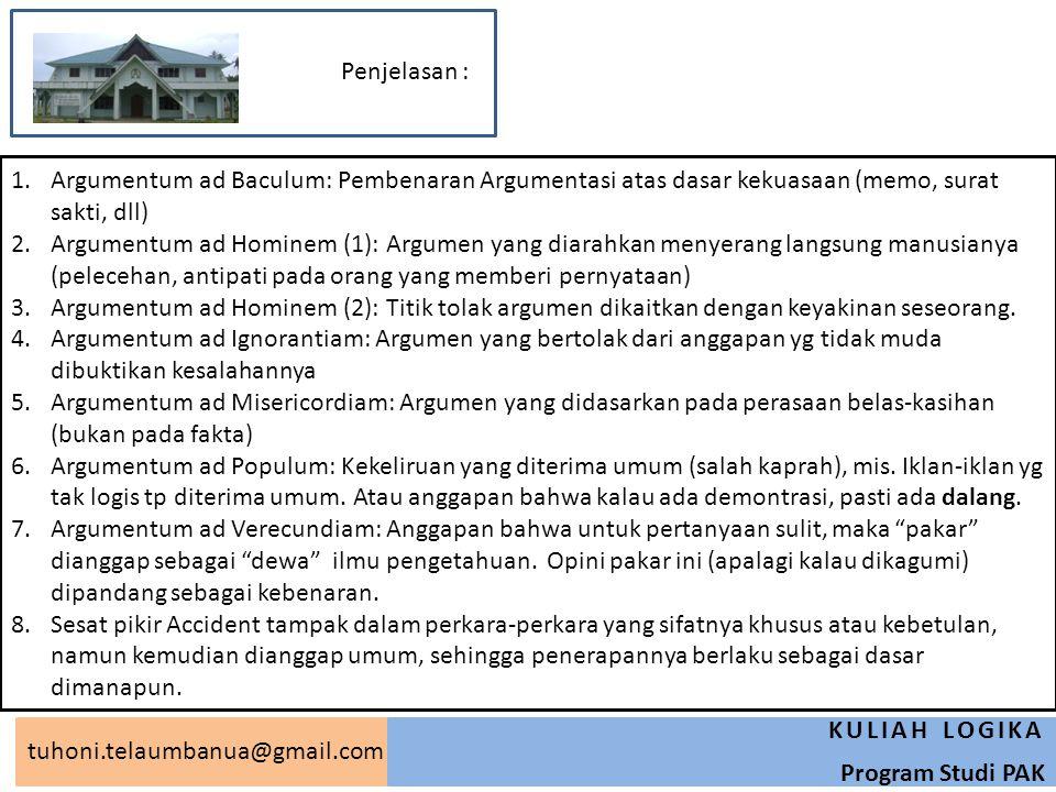 tuhoni.telaumbanua@gmail.com KULIAH LOGIKA Program Studi PAK 1.Argumentum ad Baculum: Pembenaran Argumentasi atas dasar kekuasaan (memo, surat sakti,