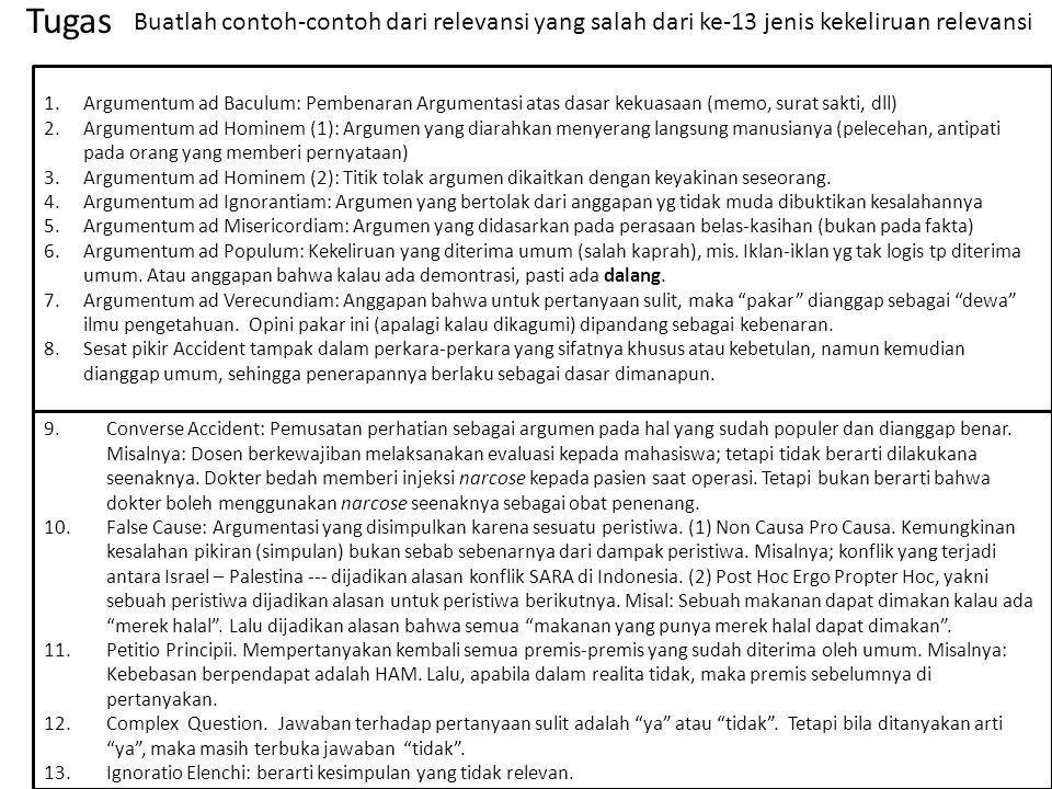 1.Argumentum ad Baculum: Pembenaran Argumentasi atas dasar kekuasaan (memo, surat sakti, dll) 2.Argumentum ad Hominem (1): Argumen yang diarahkan meny