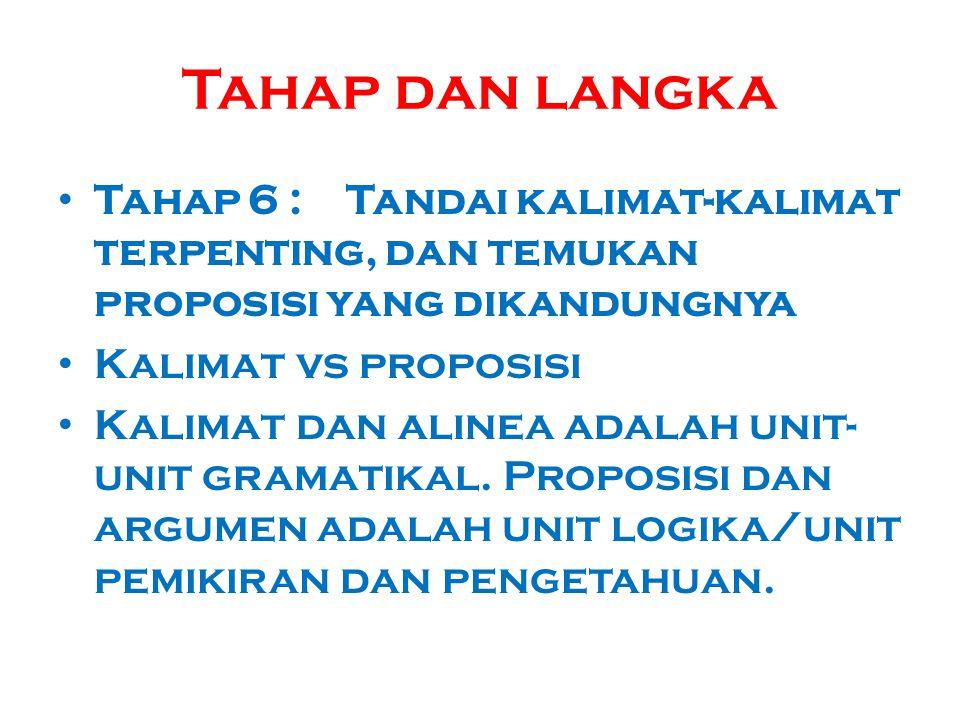 Tahap dan langka Tahap 6 :Tandai kalimat-kalimat terpenting, dan temukan proposisi yang dikandungnya Kalimat vs proposisi Kalimat dan alinea adalah un