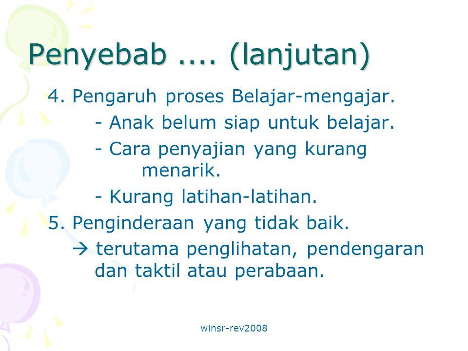 winsr-rev2008 Penyebab.... (lanjutan) 4. Pengaruh proses Belajar-mengajar.