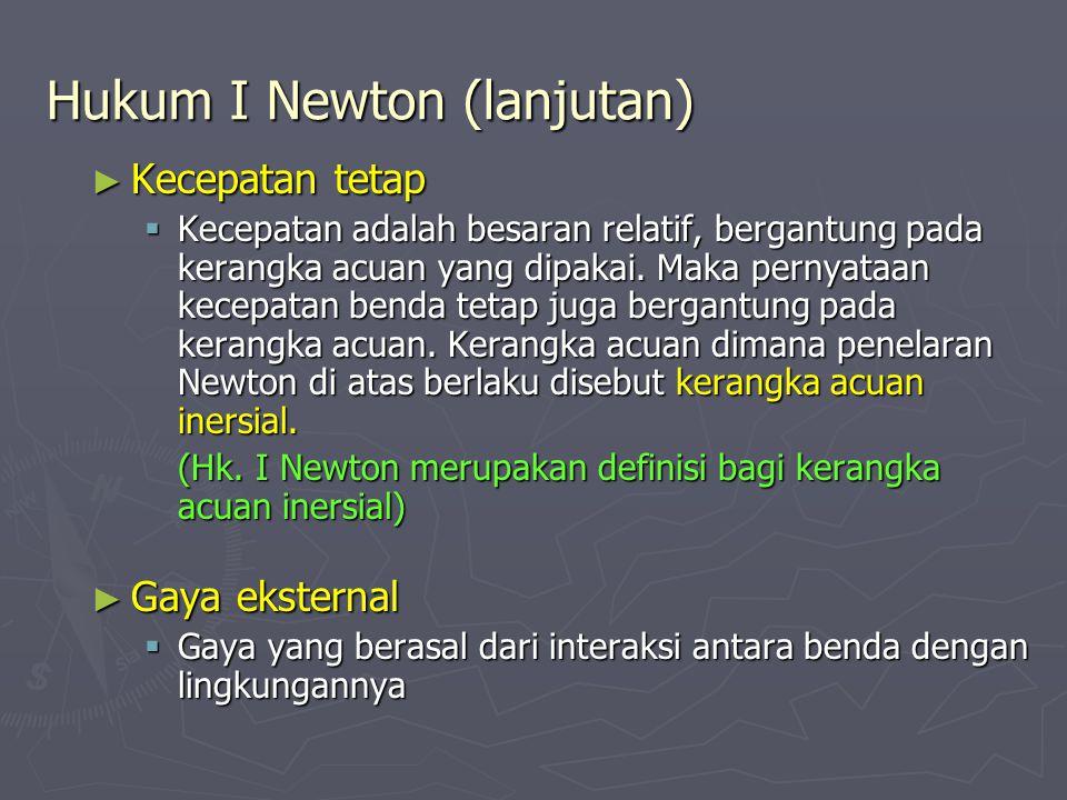 Hukum I Newton (lanjutan) ► Kecepatan tetap  Kecepatan adalah besaran relatif, bergantung pada kerangka acuan yang dipakai.