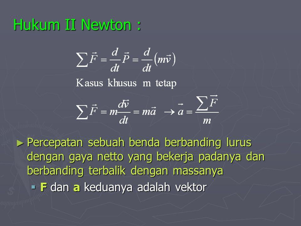 Hukum II Newton : ► Percepatan sebuah benda berbanding lurus dengan gaya netto yang bekerja padanya dan berbanding terbalik dengan massanya  F dan a keduanya adalah vektor
