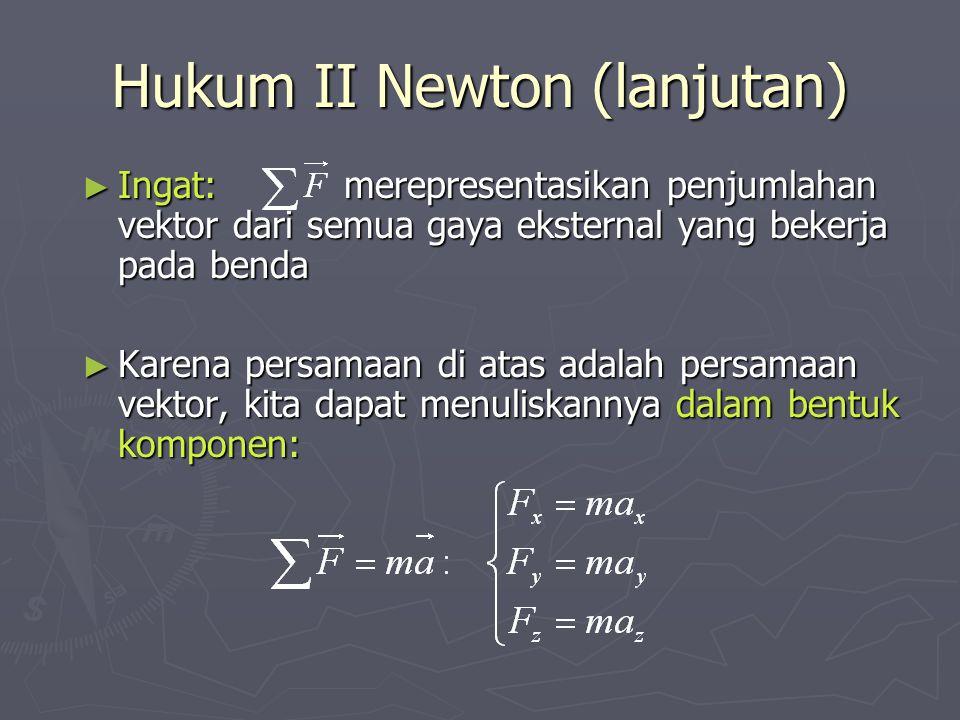 Hukum II Newton (lanjutan) ► Ingat: merepresentasikan penjumlahan vektor dari semua gaya eksternal yang bekerja pada benda ► Karena persamaan di atas adalah persamaan vektor, kita dapat menuliskannya dalam bentuk komponen: