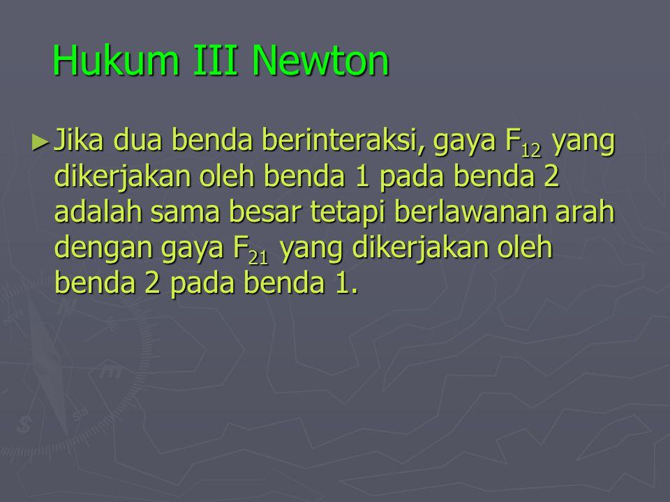 Hukum III Newton ► Jika dua benda berinteraksi, gaya F 12 yang dikerjakan oleh benda 1 pada benda 2 adalah sama besar tetapi berlawanan arah dengan gaya F 21 yang dikerjakan oleh benda 2 pada benda 1.
