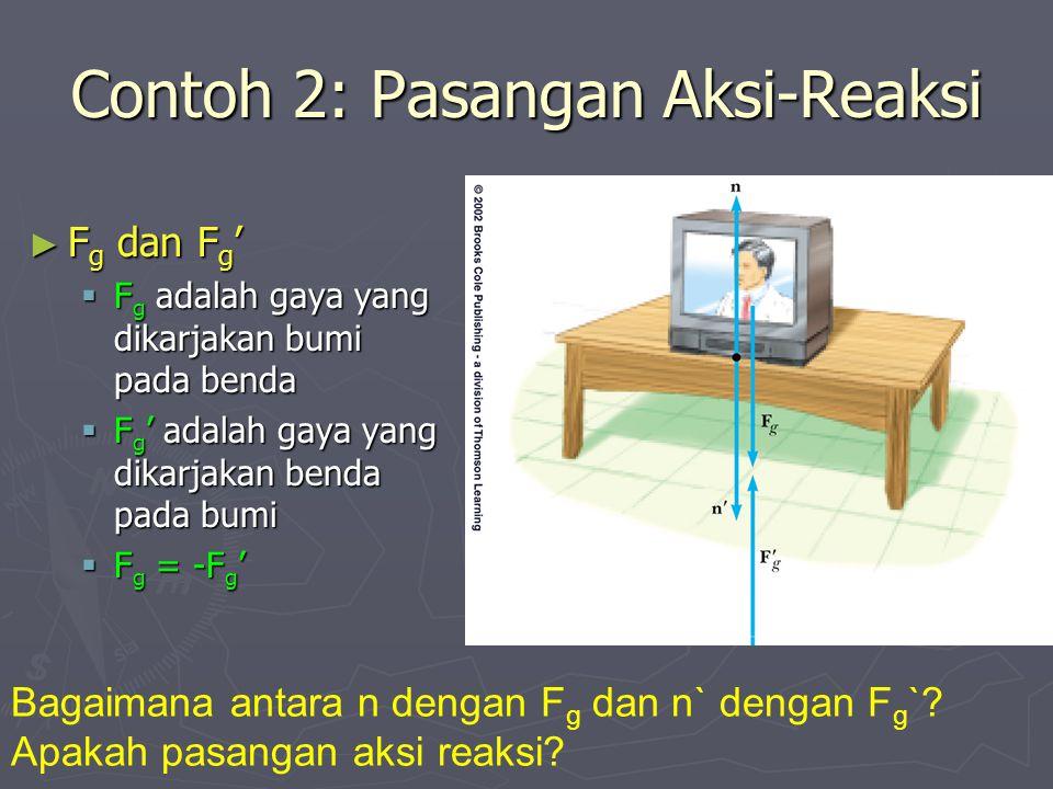 Contoh 2: Pasangan Aksi-Reaksi ► F g dan F g '  F g adalah gaya yang dikarjakan bumi pada benda  F g ' adalah gaya yang dikarjakan benda pada bumi  F g = -F g ' Bagaimana antara n dengan F g dan n` dengan F g `.