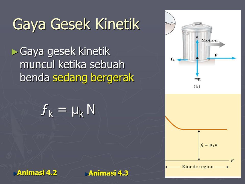 Gaya Gesek Kinetik ► Gaya gesek kinetik muncul ketika sebuah benda sedang bergerak ƒ k = µ k N ƒ k = µ k N Animasi 4.2 Animasi 4.2 Animasi 4.3 Animasi 4.3