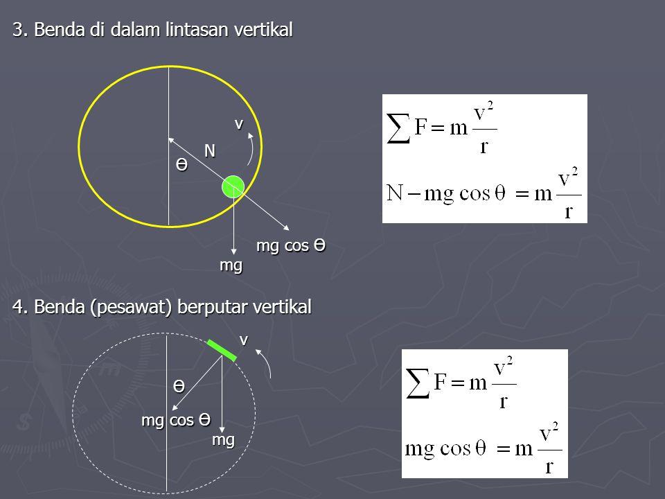3. Benda di dalam lintasan vertikal 4. Benda (pesawat) berputar vertikal N mg Ө mg cos Ө v mg Ө v