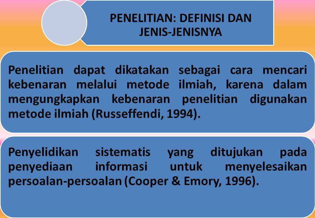 PENELITIAN: DEFINISI DAN JENIS-JENISNYA Penelitian dapat dikatakan sebagai cara mencari kebenaran melalui metode ilmiah, karena dalam mengungkapkan kebenaran penelitian digunakan metode ilmiah (Russeffendi, 1994).