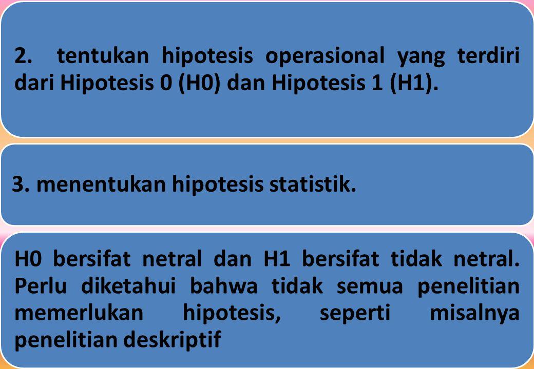 2.tentukan hipotesis operasional yang terdiri dari Hipotesis 0 (H0) dan Hipotesis 1 (H1).