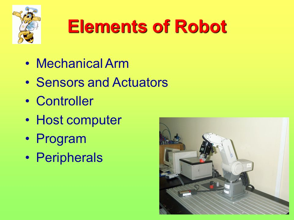 Elements of Robot Mechanical Arm Sensors and Actuators Controller Host computer Program Peripherals