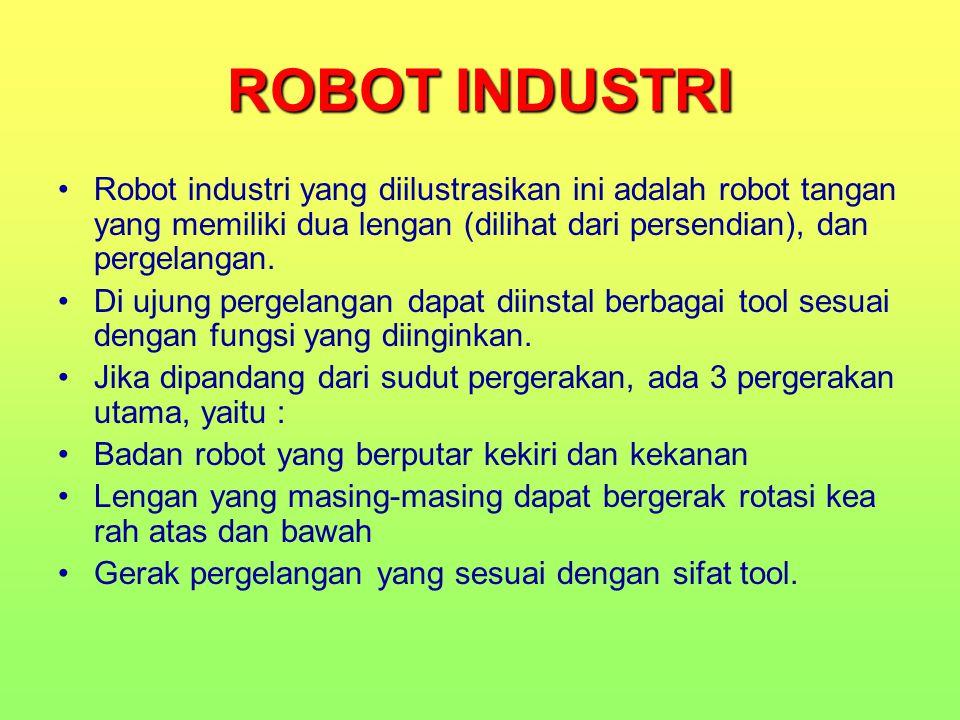 ROBOT INDUSTRI Robot industri yang diilustrasikan ini adalah robot tangan yang memiliki dua lengan (dilihat dari persendian), dan pergelangan. Di ujun