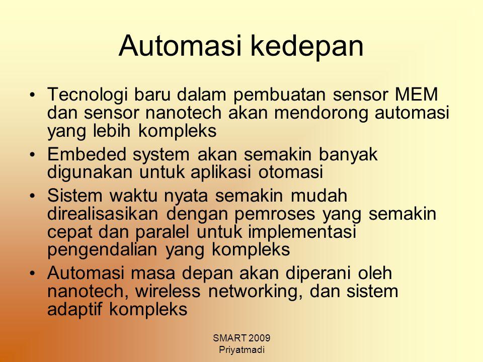 SMART 2009 Priyatmadi Automasi kedepan Tecnologi baru dalam pembuatan sensor MEM dan sensor nanotech akan mendorong automasi yang lebih kompleks Embed