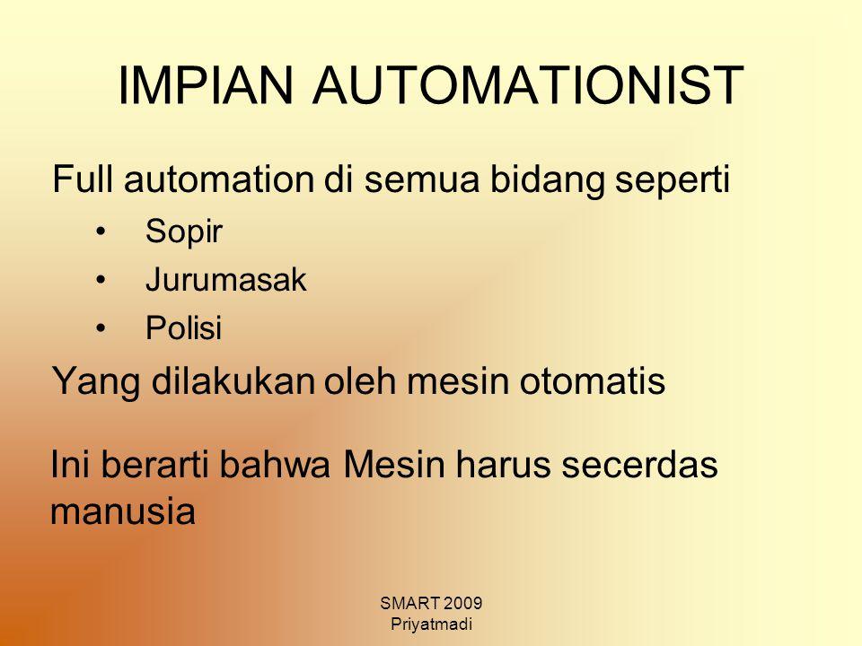 SMART 2009 Priyatmadi IMPIAN AUTOMATIONIST Full automation di semua bidang seperti Sopir Jurumasak Polisi Yang dilakukan oleh mesin otomatis Ini berar