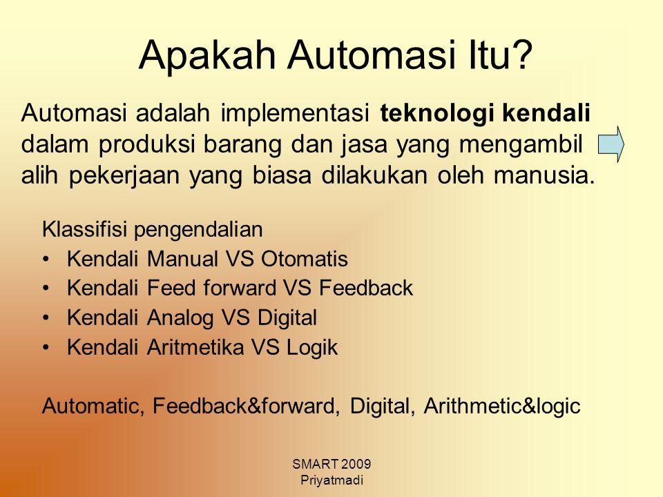 SMART 2009 Priyatmadi Apakah Automasi Itu? Klassifisi pengendalian Kendali Manual VS Otomatis Kendali Feed forward VS Feedback Kendali Analog VS Digit