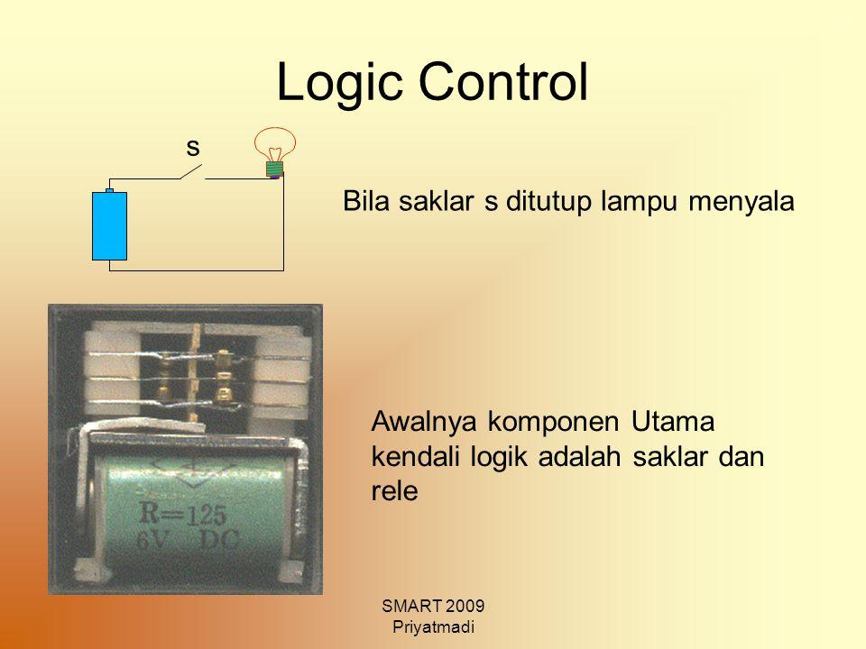 SMART 2009 Priyatmadi Logic Control Bila saklar s ditutup lampu menyala Awalnya komponen Utama kendali logik adalah saklar dan rele s