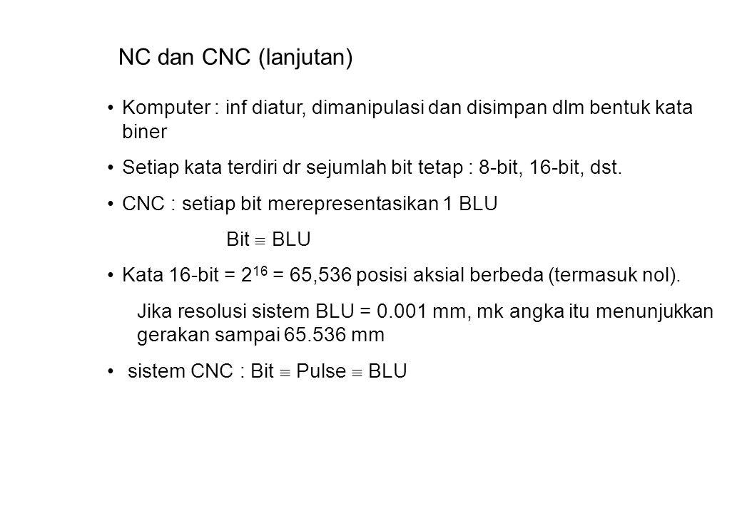 NC dan CNC (lanjutan) Komputer : inf diatur, dimanipulasi dan disimpan dlm bentuk kata biner Setiap kata terdiri dr sejumlah bit tetap : 8-bit, 16-bit, dst.